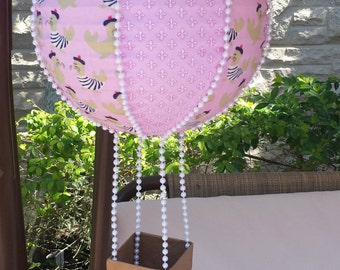 Handmade Hot Air Balloon Decoration ~ Nursery Decoration ~ Pink and White ~ Paris themed