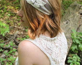Louise: Ivory Bridal Headband | Lace Bridal Headpiece | Wedding Hairpiece | Soft Bridal Headband | Ivory
