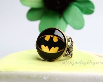Batman Rings Womens Vintage Super Hero Statement Ring Adjustable Ring Girls Kids Children Novelty Wedding Bridesmaid jewelry gift for her
