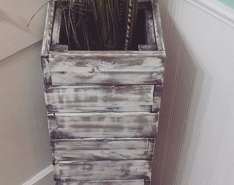 LOWER shipping! Stacked rustic wood floor vase. Custom sizes. Vase Home Decor. Distressed, Shabby Chic