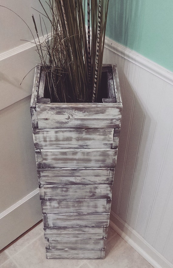 Stacked rustic floor vase wooden vase home decor decorative for Floor vase decoration ideas