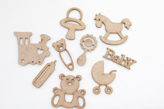 Set of cut outs baby carriage toys shape mdf by thewoodenworld for Craft supplies wooden shapes