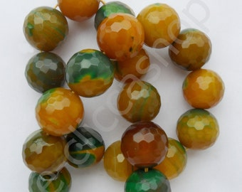 ROUND FACETED AGATE BEADS 17 mm 6 PCs