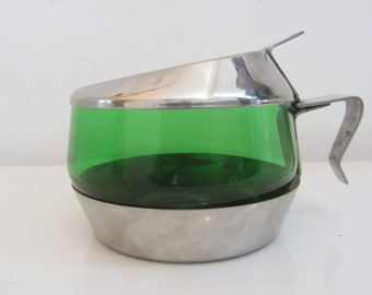 Forest Green glass sugar bowl or jam dish with stainless steel base and lid with a handle - 1960s