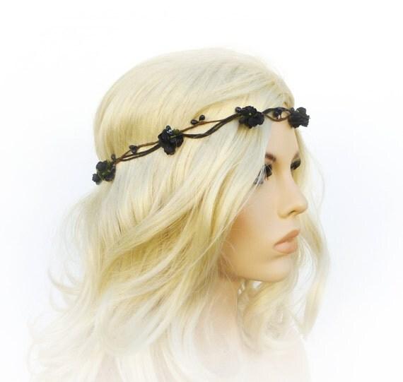 Black Flower Crown Gothic Flower Crown Black Flower: Items Similar To Black Flower Crown Gothic Crown Black