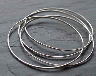 Lightweight Silver Wire Bangle Bracelet - Silver Wire Minimalist Stackable Bangle (B11)