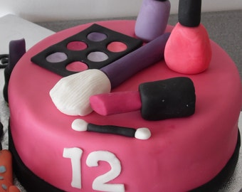 Handmade Edibe Make Up Cake Topper, Birthday, Cupcakes
