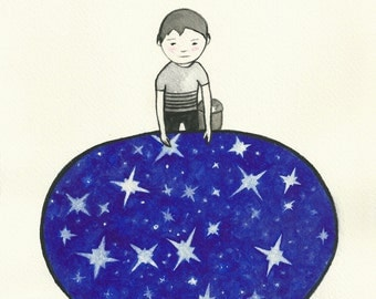 The keeper of the stars, original watercolor illustration / original drawing