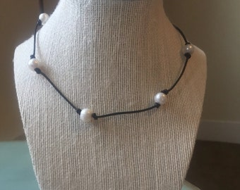 Scattered Freshwater Pearl Leather Necklace