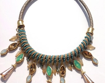 Contemporary Statement Necklace,  Gold Coloured Stones,  Boxed