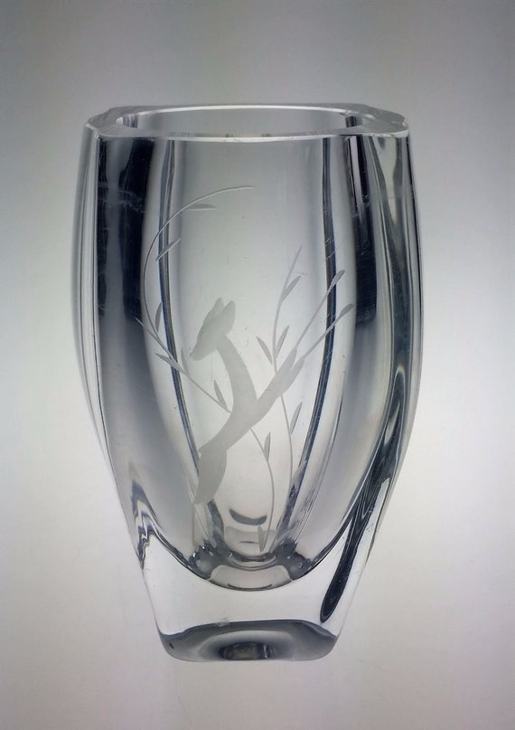 Vintage Etched Lead Crystal Glass Vase By Westartedwithamouse