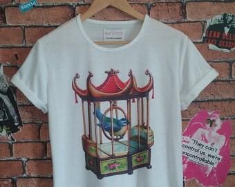 Woman's Oriental birdcage vintage print  t shirt/T-shirt/tee (Men's fit also available)