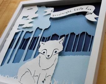 fox papercut nursery decor, framed art