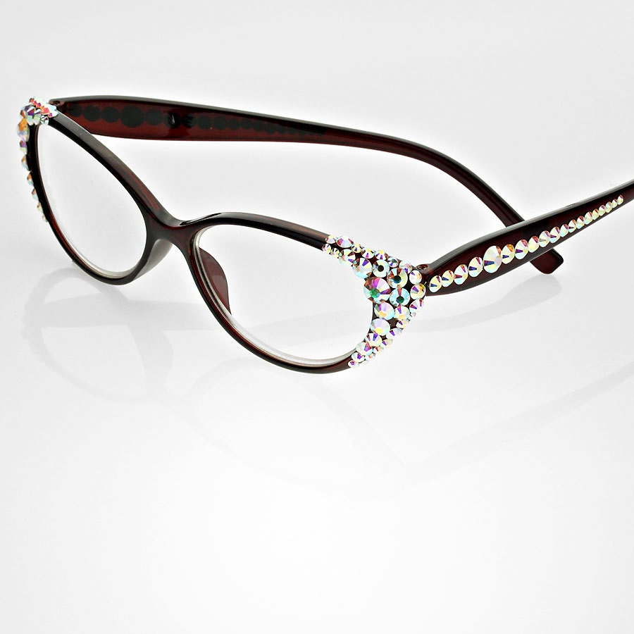 cat eye detailed frame reading glasses embellished