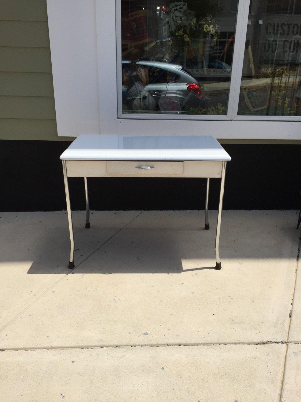 vintage enamel top table with chrome legs retro white