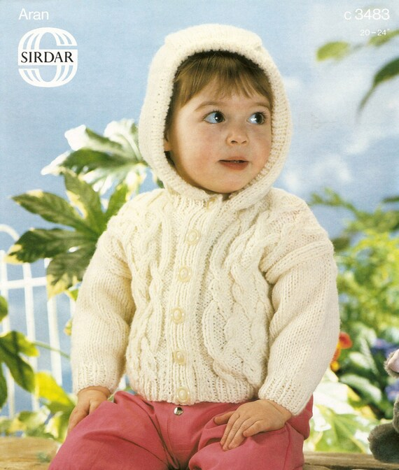 Knitting Pattern Hooded Jacket Toddler : Knitting Pattern Baby Jacket with Hood ARAN 51-61 cm PDF