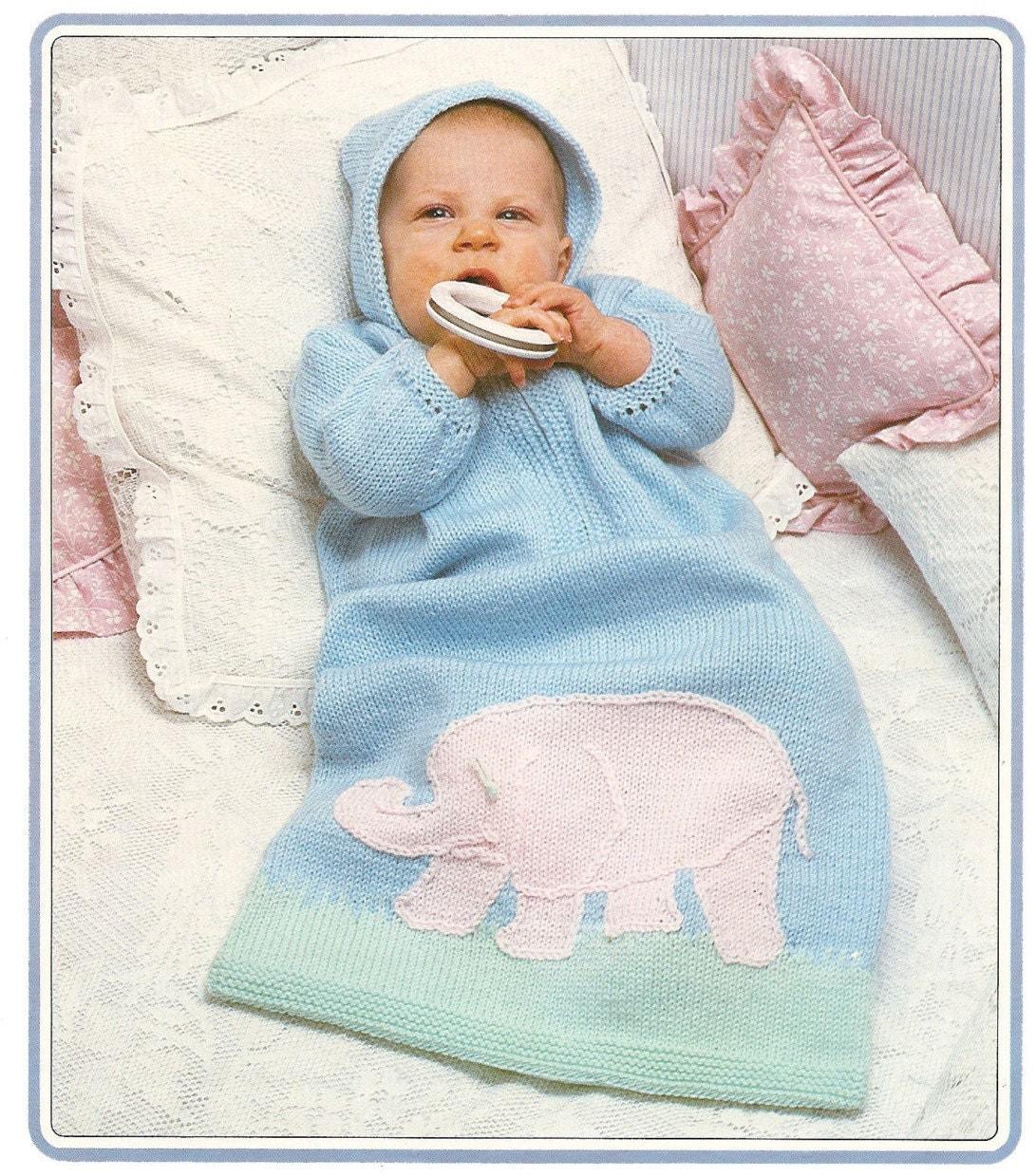 Baby Knitting Patterns Sleeping Bag : Knitting Pattern Baby Sleeping Bag Elephant Motif DK PDF