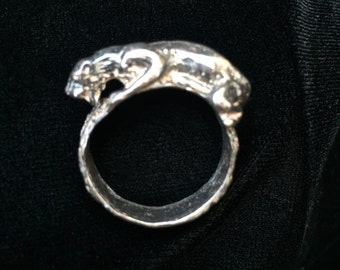 sterling silver cougar panther leopard ring size 10