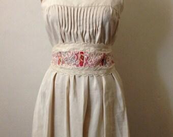 Shoulder straps smocked dress with antique lace sash belt
