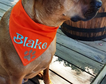 Personalized Embroidered Dog Bandana with Paw Print