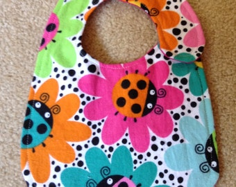 Multi Color Ladybug Baby Bib