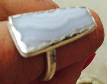Blue lace agate statement ring in fine silver and Sterling silver