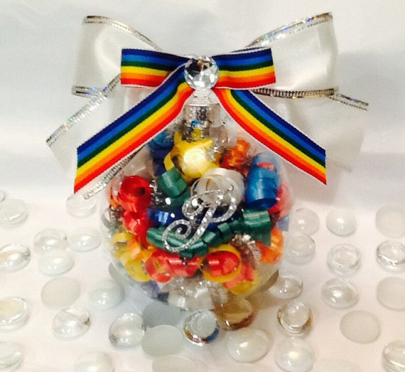 Personalized gay pride glass ornament rainbow by