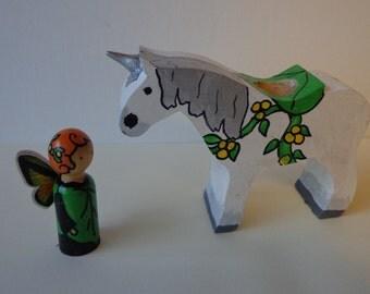 Unicorn and Fairy Peg Doll Fantasy Play Set