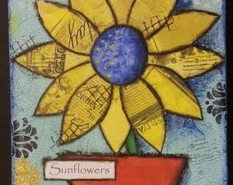 "Original Mixed Media Canvas - ""Sunflower"""