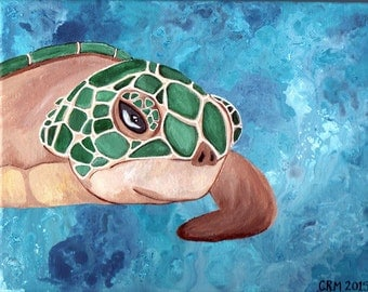 Green Turtle in the Primordial Ocean, 8x10in. ORIGINAL Canvas Painting Wall Art, Home Decor, Unframed Canvas, Costal, Beach Ready to Display