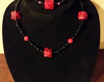 Fiery beaded necklace and bracelet set
