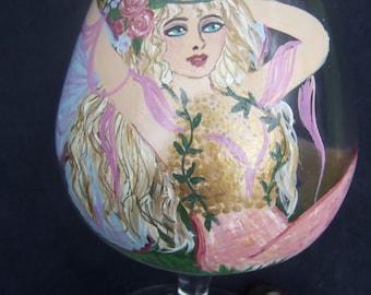 Faerie Queen Hand Painted Brandy Snifter