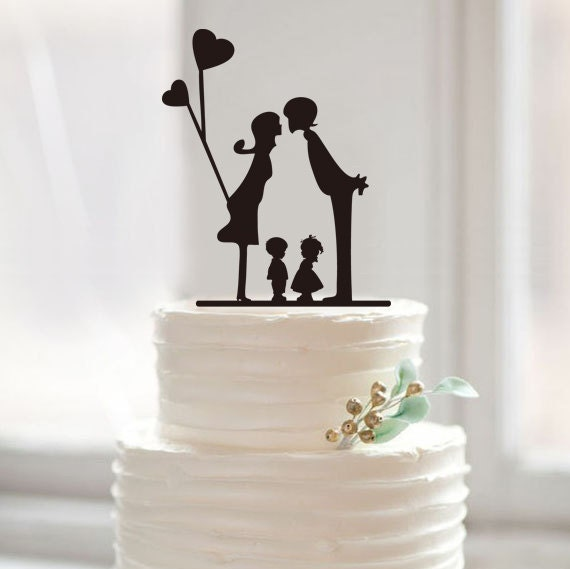 modern family wedding cake topper silhouette cake toppers weddingfamily members by muggses 17467