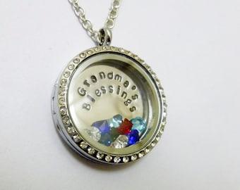 GRANDMA'S BLESSINGS - Custom Floating Charm Locket -  Memory Locket - Custom Hand Stamped Gift for Mom