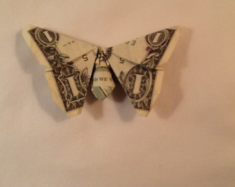 Hand Folded Dollar Origami Butterfly