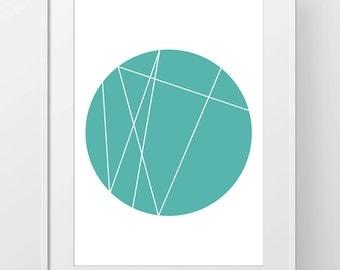 Sale 50% off Printable Art Geometric Mint Green Circle & Lines Print, Modern Wall Art, Instant Download