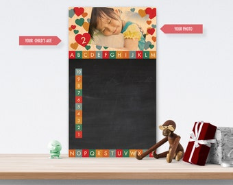 Chalkboard (Wood) Customisable With Your Photo - The Alphabet