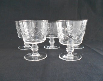 Vintage Whiskey or Brandy Glasses Diamond Cut Set of Five 1950's