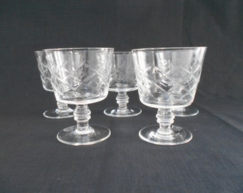 Vintage Whiskey or Brandy Glasses Diamond Cut Set of Five 1950's  #00006