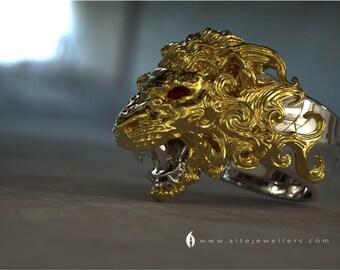 Majestic Roaring Alpha Male Lion Head Sterling Silver Ring