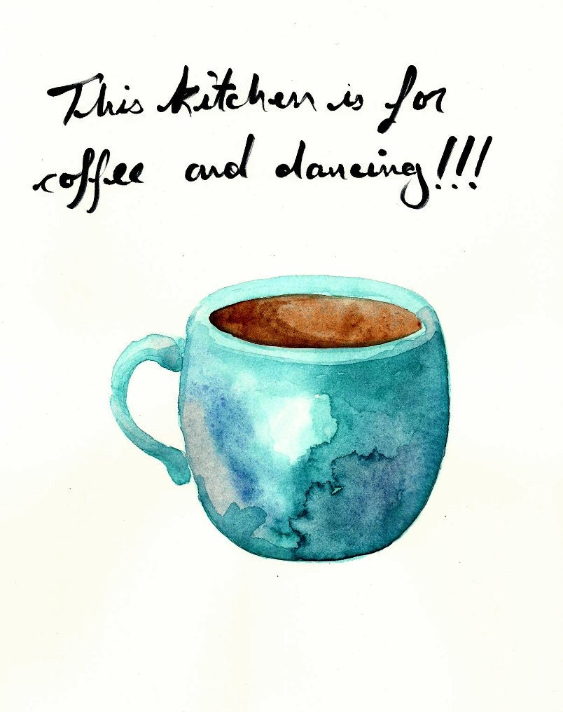 Watercolor painting original coffee and dancing by for Painting with coffee