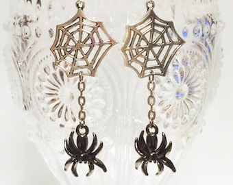 Spider, Spider Web, Earrings, goth, silver, gothloli,