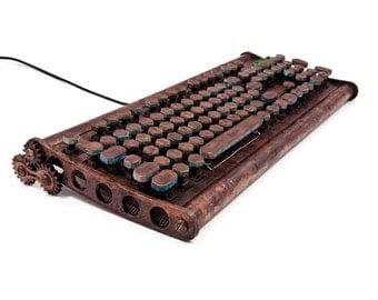 The Copper Machinist Keyboard - Datamancer Copper Steampunk Keyboard Mechanical Typewriter