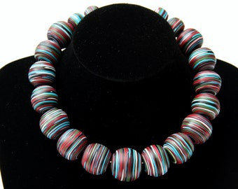 Unique statement necklace, Striped polymer clay necklace,Fimo beaded necklace,Hand made necklace,Colorful coiled strings
