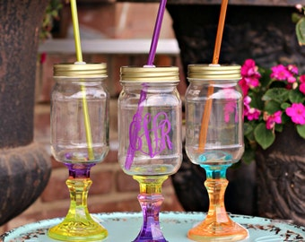 Monogrammed Mason Jar Wine Glass