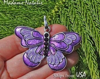 Purple Butterfly Pendant, Purple Rhinestone and Enamel Pendant, Violet Butterfly Pendant, Pendant for Long Chain Sweater Necklace