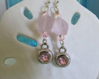 Pink sea glass earrings
