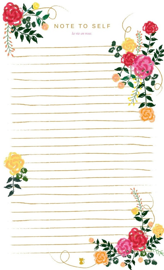 la vie en rose floral lined notepad to do list notes home. Black Bedroom Furniture Sets. Home Design Ideas