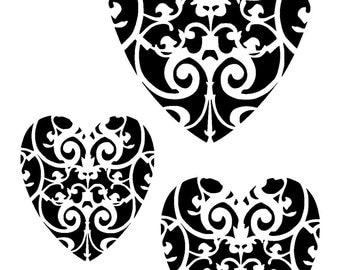"11.7/16.5"" Vintage heart design stencil 8 (3 hearts).  A3."