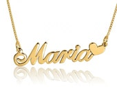 14k Solid Gold Name Necklace Gold Name Heart Pendant Necklace Name Gold Pendant Heart Nameplate Name Necklace pendant Gold Heart Necklace